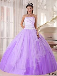 Elegant Sweetheart Appliques Lavender Quinceanera Gowns in Tulle