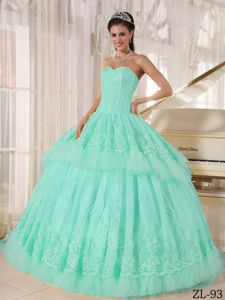 Kate Winslet Mint Colored Sweetheart Lace Decorate Pleated Dress for Quince
