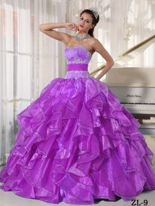 Sash Decorate Ruffles and Beading Quinceanera Gowns