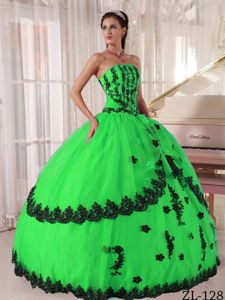 Black and Spring Green Strapless Appliques Quinceanera Gowns