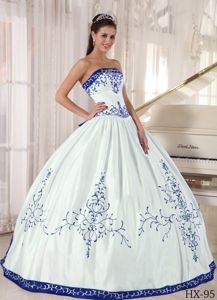 Strapless Embroidery and Pleats Dress for Quince Custom Made