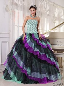 Multi-Color Strapless Appliques and Ruffles Quinceanera Dresses