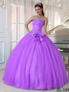 Lilac Sweetheart Beading and Bowknot Sweet Sixteen Dresses