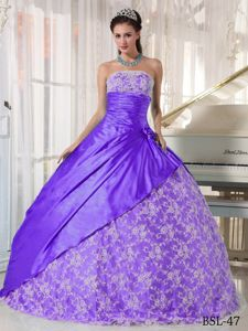 Ball Gown Strapless Taffeta Ruched Lace Accent Sweet 15 Dresses