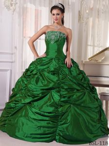Green Strapless Taffeta Embroidery Pick-ups Dress for Quince