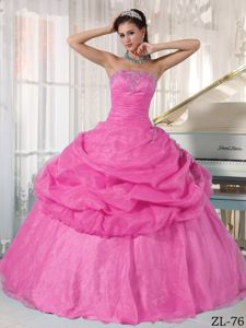 Pink Ball Gown Strapless Pick-ups and Pleats Quinceanera Gowns