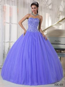 Lilac Ball Gown Sweetheart Beading Pleated Sweet Sixteen Dresses