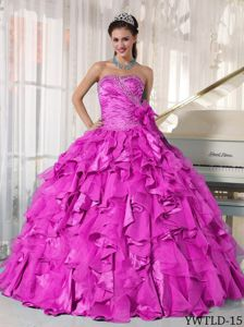 Popular Hot Pink Ball Gown Sweetheart Ruffled Sweet 15 Dresses