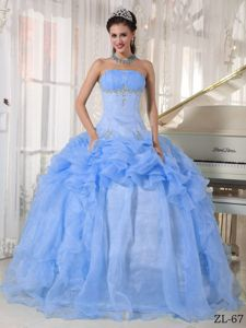 Cute Baby Blue Strapless Appliques and Pick-ups Quinceanera Gowns