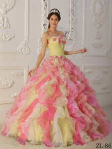 Colorful Strapless Hand Made Flowers Ruffled Quinceanera Gowns