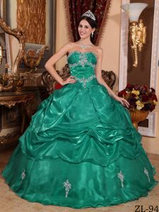 Green Sweetheart Pick-ups Appliques and Ruches Sweet Sixteen Dresses