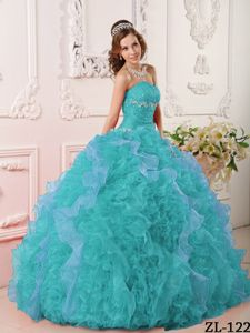 Turquoise Strapless Beading Appliques Ruffled Quinceanera Dresses