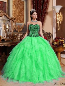 Spring Green Sweetheart Ball Gown Beading Ruffled Sweet 15 Dress