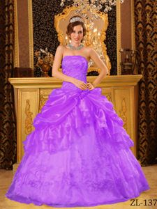 Light Purple Strapless Organza Embroidery Pick-ups Quinces Dresses