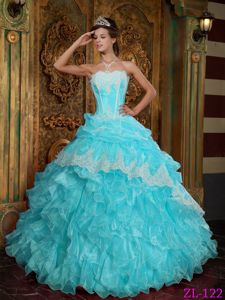Baby Blue Strapless Ruffled Quinceanera Dresses with Pick-ups