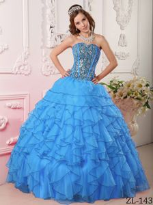 Chic Blue Sweetheart Appliques Dress for Quince with Ruffles