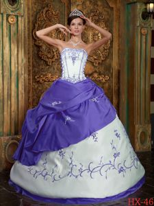 Purple and Cream Strapless Embroidery Pick-ups Quinceanera Dresses