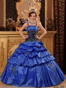 Blue Spaghetti Straps Tiered Pick-ups Pleated Sweet Sixteen Dresses