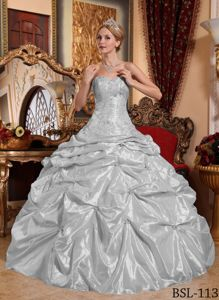 Silver Gray Pick-ups Beading Embroidery Dress for Quince Plus