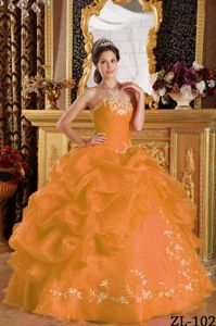 Orange Strapless Ruches and Embroidery Pick-ups Sweet 16 Dresses