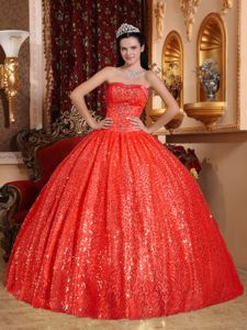 Red Beading Ball Gown Strapless Pleated Quinceanera Dresses Plus