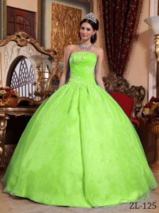 Simple Yellow Green Strapless Embroidery Bodice Quinces Dresses