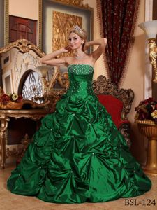 Elegant Green Princess Beading Bodice Pick-ups Quinces Dresses