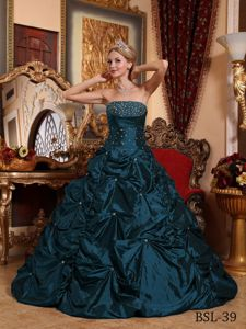 Navy Blue Strapless Beading Quinceanera Dresses with Pick-ups