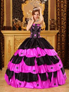 Black and Hot Pink Strapless Tiered Quinceanera Dress with Patterns