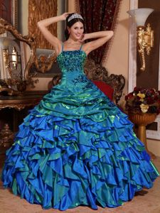 Spaghetti Straps Appliques Pick-ups and Ruffles Dress for Quince