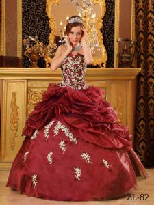 Burgundy Ball Gown Appliques and Pick-ups Accent Sweet 15 Dress