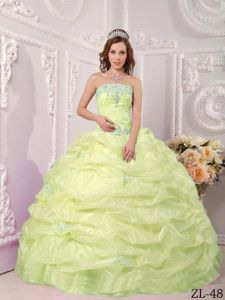 Yellow Green Strapless Appliques and Pick-ups Quinceanera Gowns