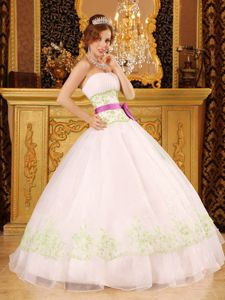 Lovely Pleated Strapless Organza Quinceanera Dress with Bow Sash