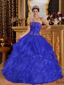 Royal Blue Strapless Appliques Pick-ups Accent Sweet Sixteen Dresses