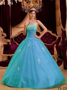 Princess Strapless Beading and Appliques Accent Quinceanera Gowns
