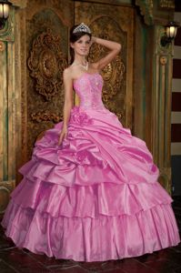 Pink Multi-tiered Pick-ups and Pleats Beading Quinceanera Dresses