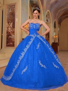 Royal Blue Strapless Ruched Bust Beading Appliques Sweet 15 Dress