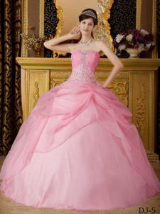 Cute Pink Strapless Pick-ups Decorate Beading Quinceanera Dresses