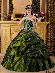 Olive Green Strapless Beading Pick-ups and Pleats Sweet 15 Dresses