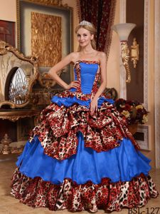 Blue Ball Gown Strapless Leopard Pick-ups Quinceanera Dresses