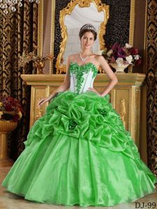 Spring Green and White Sweet 15 Dresses with Pick-ups and Pleats