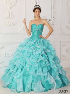 Mint Colored Ruffles Decorate Beading Sweet Sixteen Dresses