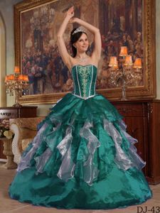 Beautiful Turquoise Ball Gown Strapless Beading Quinceanera Dress