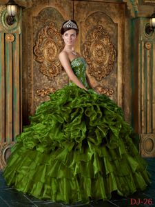 Olive Green Strapless Appliques Quinceanera Gown with Ruffled Tiers