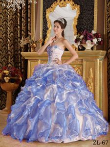 Excellent Colorful Sweetheart Appliques Ruffles Sweet 15 Dresses