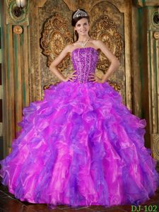 Multi-colored Ball Gown Ruffled Beading Strapless Quince Dresses