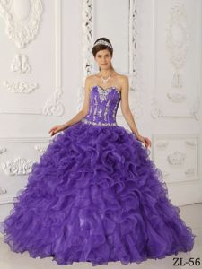 Purple Organza Appliques Sweet 16 Dresses with Ruffles
