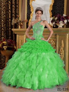Green One Shoulder Ruffled Organza Beaded Quince Dresses