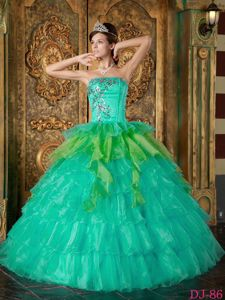 Turquoise Organza Dress for Quinceaneras with Tiered Ruffles