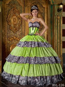 Green and Zebra Layered Taffeta Sweet Sixteen Dresses